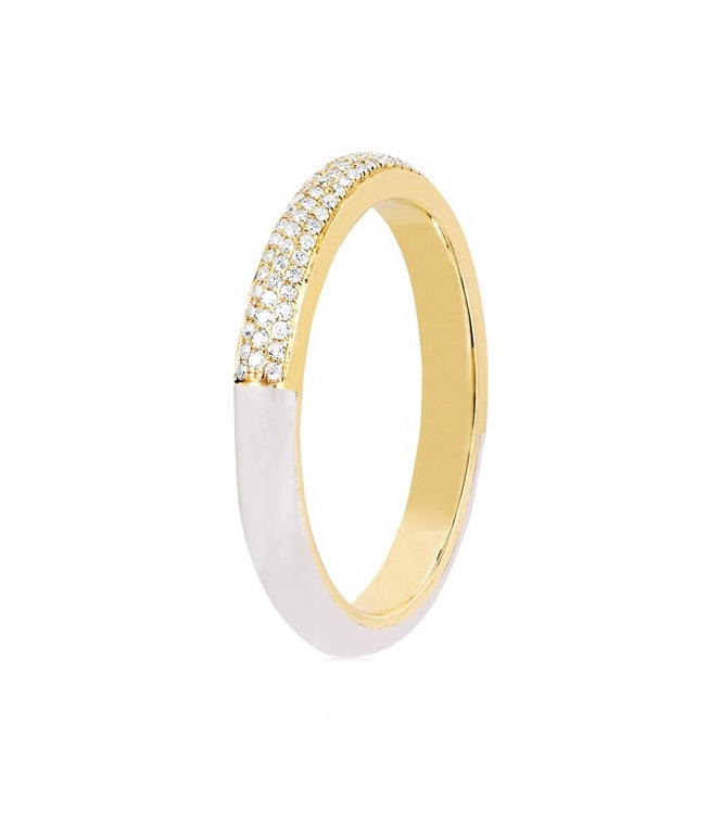 Two Tone Diamond & White Enamel Band