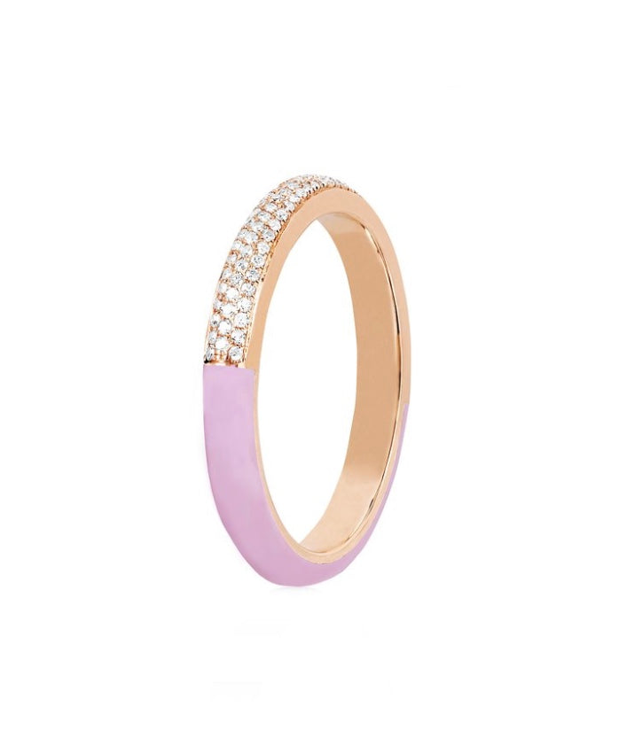 Two Tone Diamond & Light Pink Enamel Band