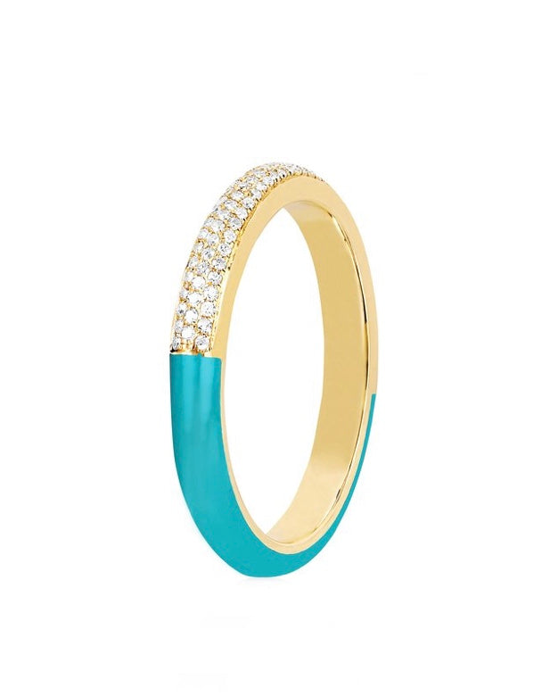 Two Tone Diamond & Turquoise Enamel Band