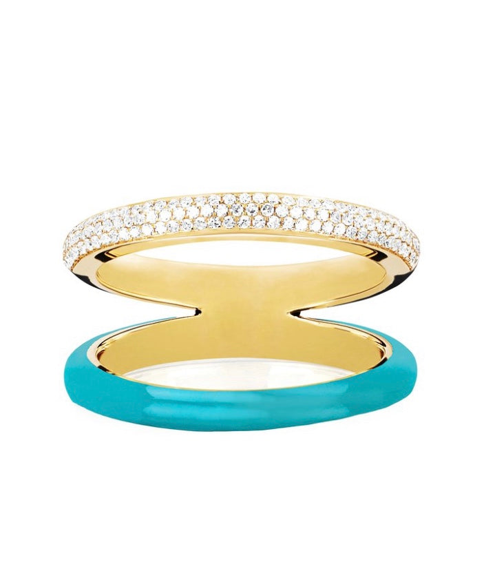 Two Tone Diamond & Turquoise Enamel Split Band