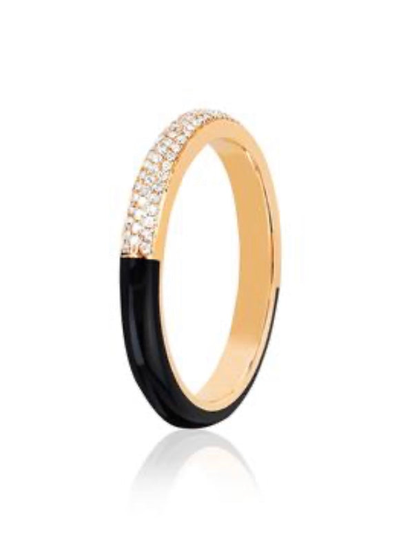 Two Tone Diamond & Black Enamel Band