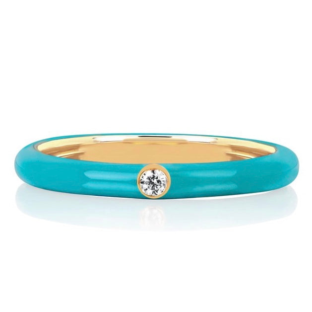 Jumbo Single Diamond Enamel Stack Ring