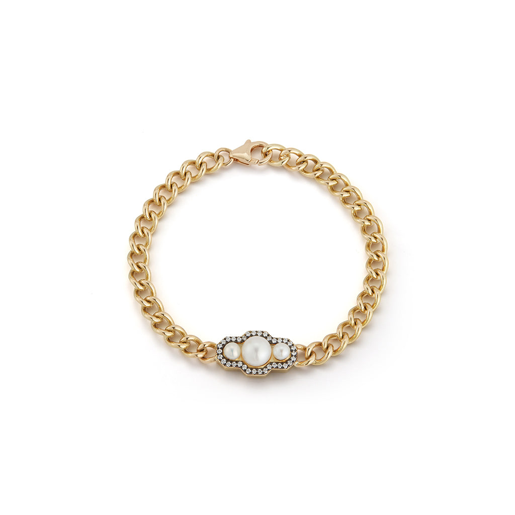 Toujours Curb Link Pearl Bracelet
