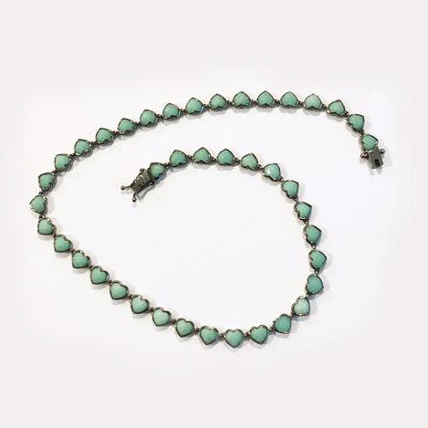 Small Heart Riviere Chrysoprase Necklace