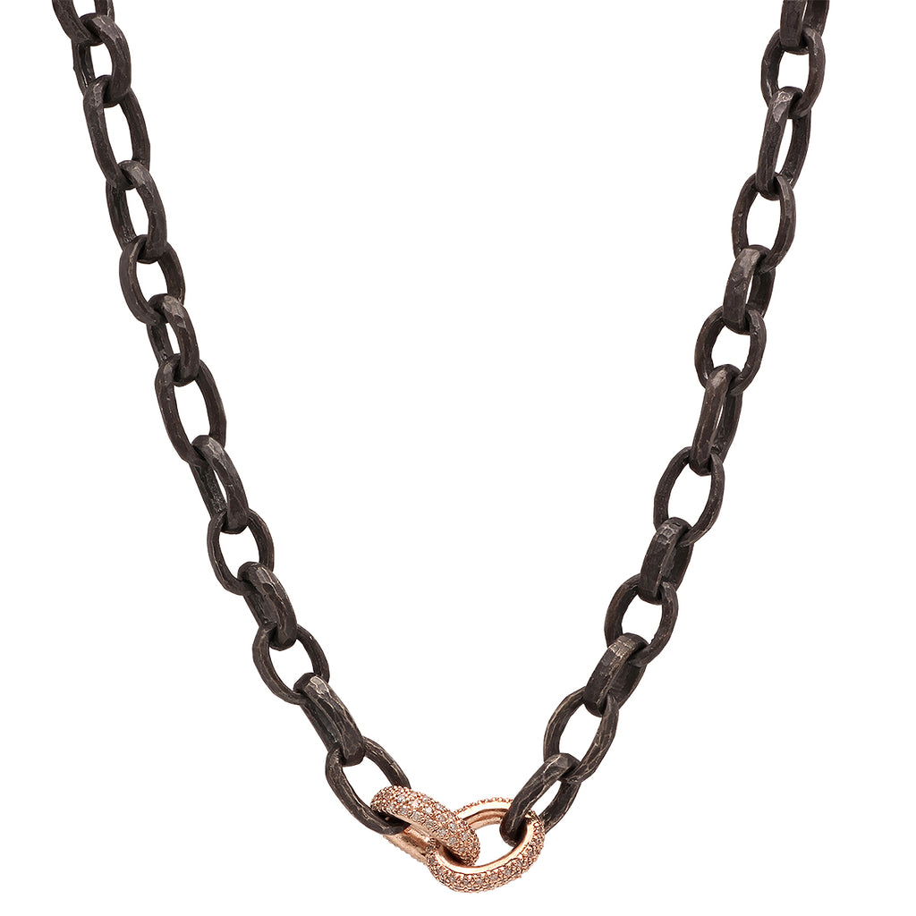 OXIDIZED SILVER HAMMERED CHAIN WITH 14K DOUBLE ROSE GOLD AND DIAMOND LINKS