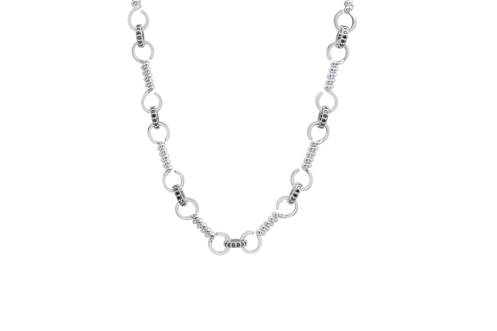 SILVER TWIST BAR LINK NECKLACE WITH BLACK DIAMONDS