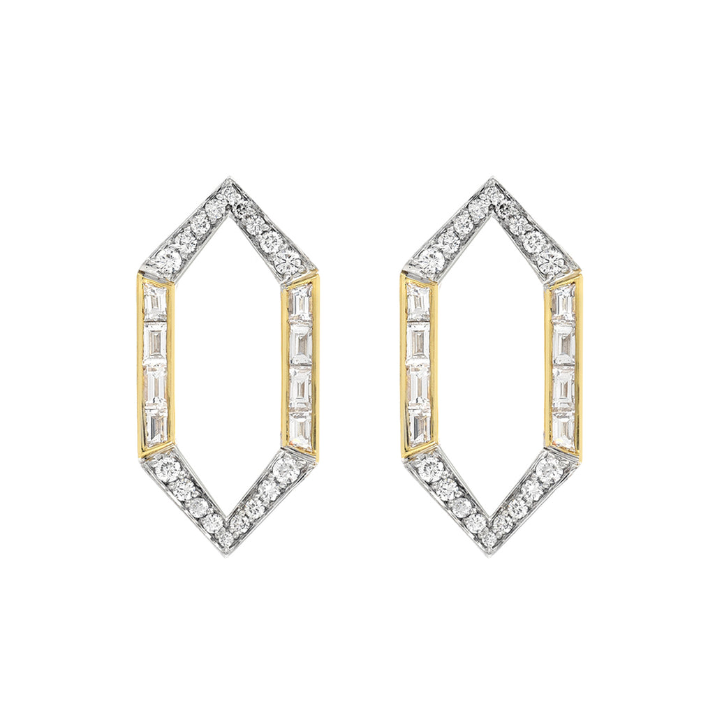 Open Hexagon Large Stud Earrings