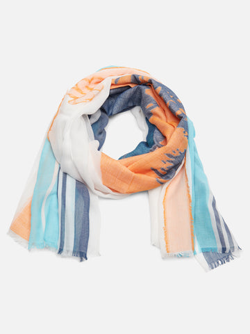 Striped Sunset Scarf - White Multi