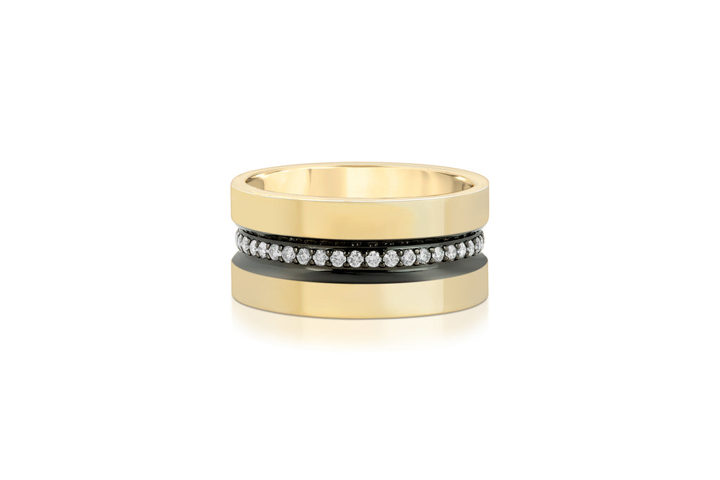 DIAMOND LINE 14K YELLOW GOLD WIDE DIAMOND LINE BAND WITH RUTHENIUM TRIM