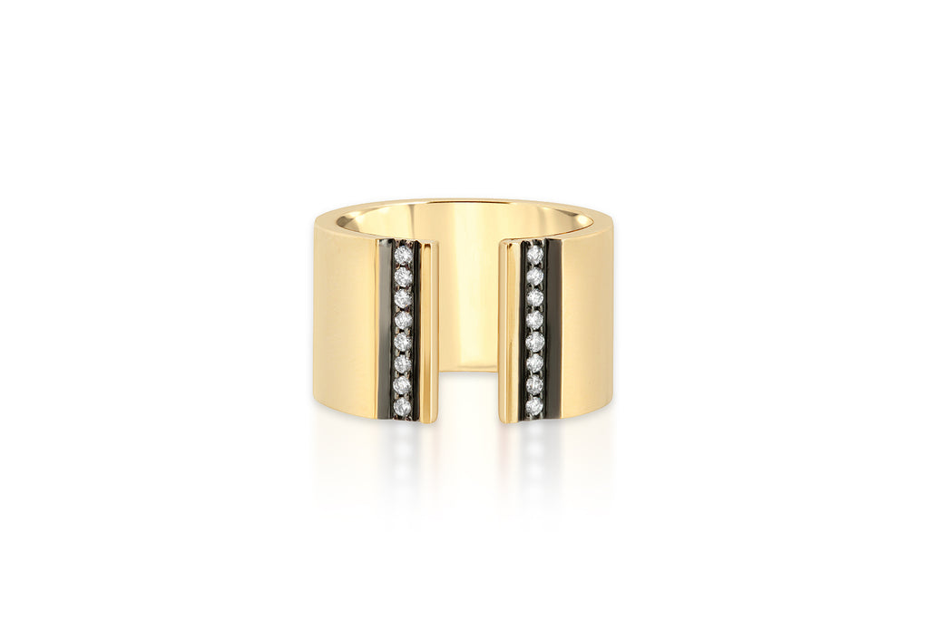 OPEN FRONT 14K CIGAR BAND WITH DIAMOND STRIPES AND BLACK RUTHENIUM TRIM