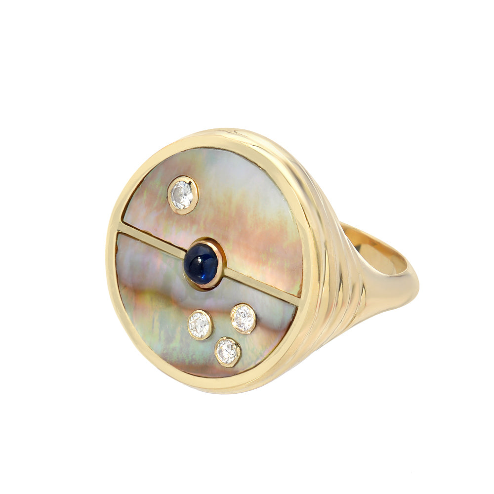 Compass Signet Ring - Dark Mother-of-Pearl