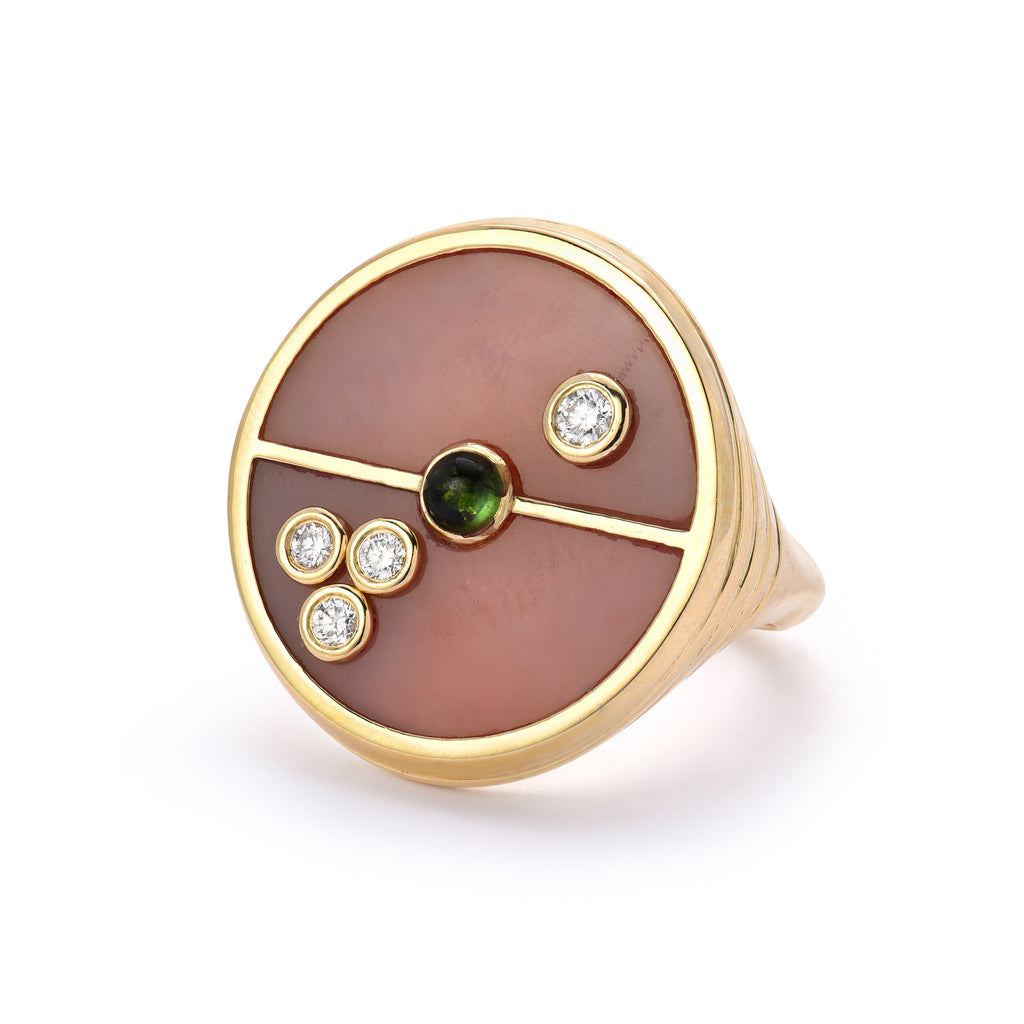 Compass Signet Ring - Pink Opal