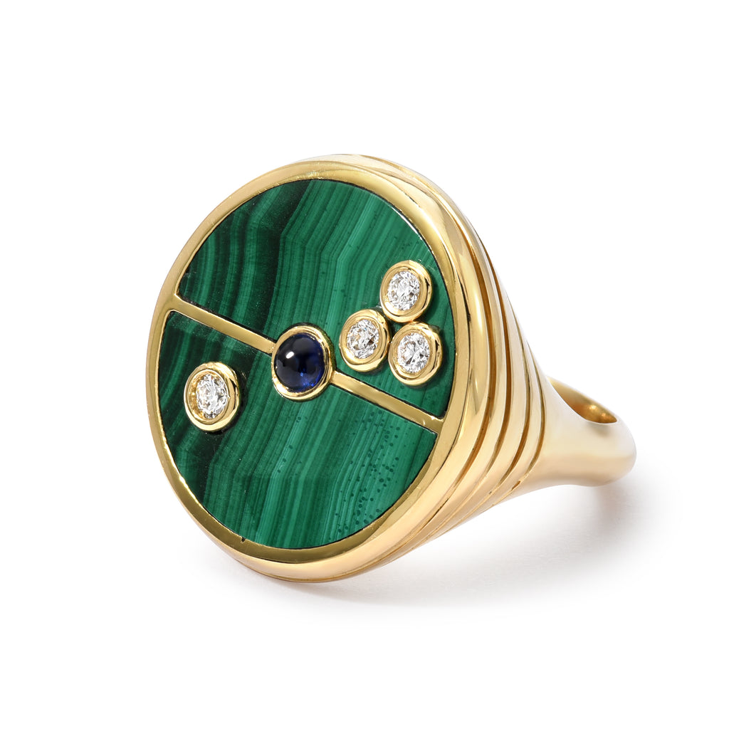 Malachite Compass Ring