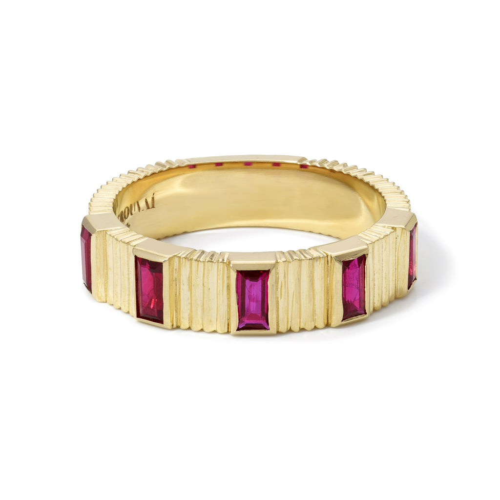 Pleated 5-Stone Ring - Ruby Baguettes