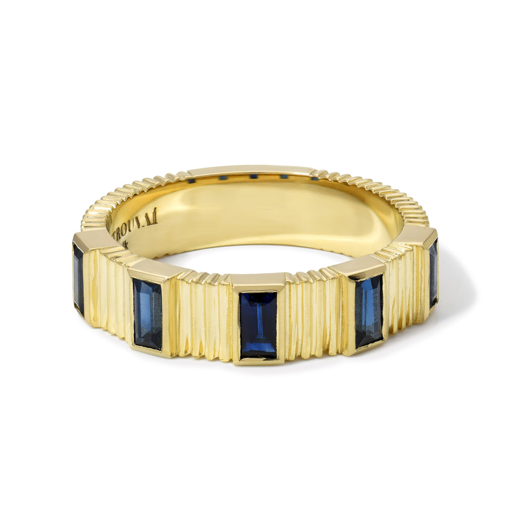 Pleated 5-Stone Ring - Sapphire Baguettes