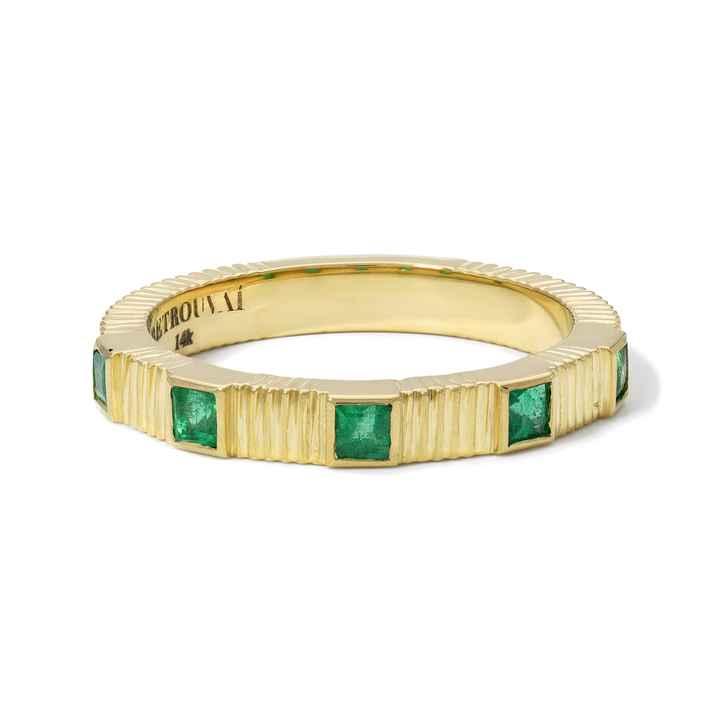 Pleated 5-Stone Ring - Emerald Square Cut