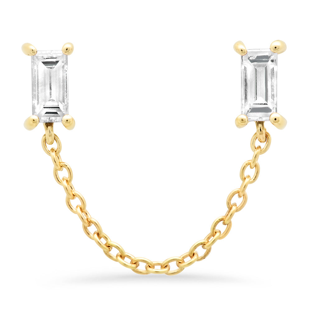 Diamond Baguette Chain Studs