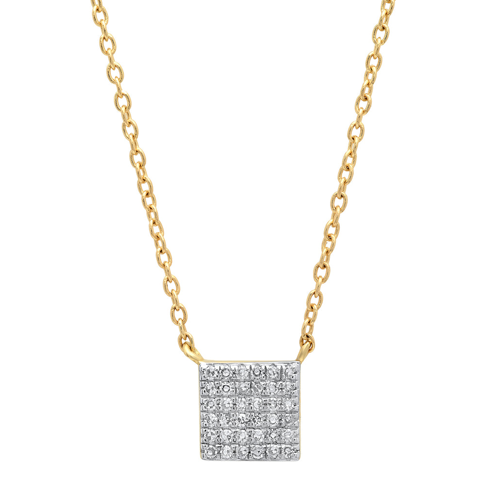 Pave Diamond Square Necklace in Gold