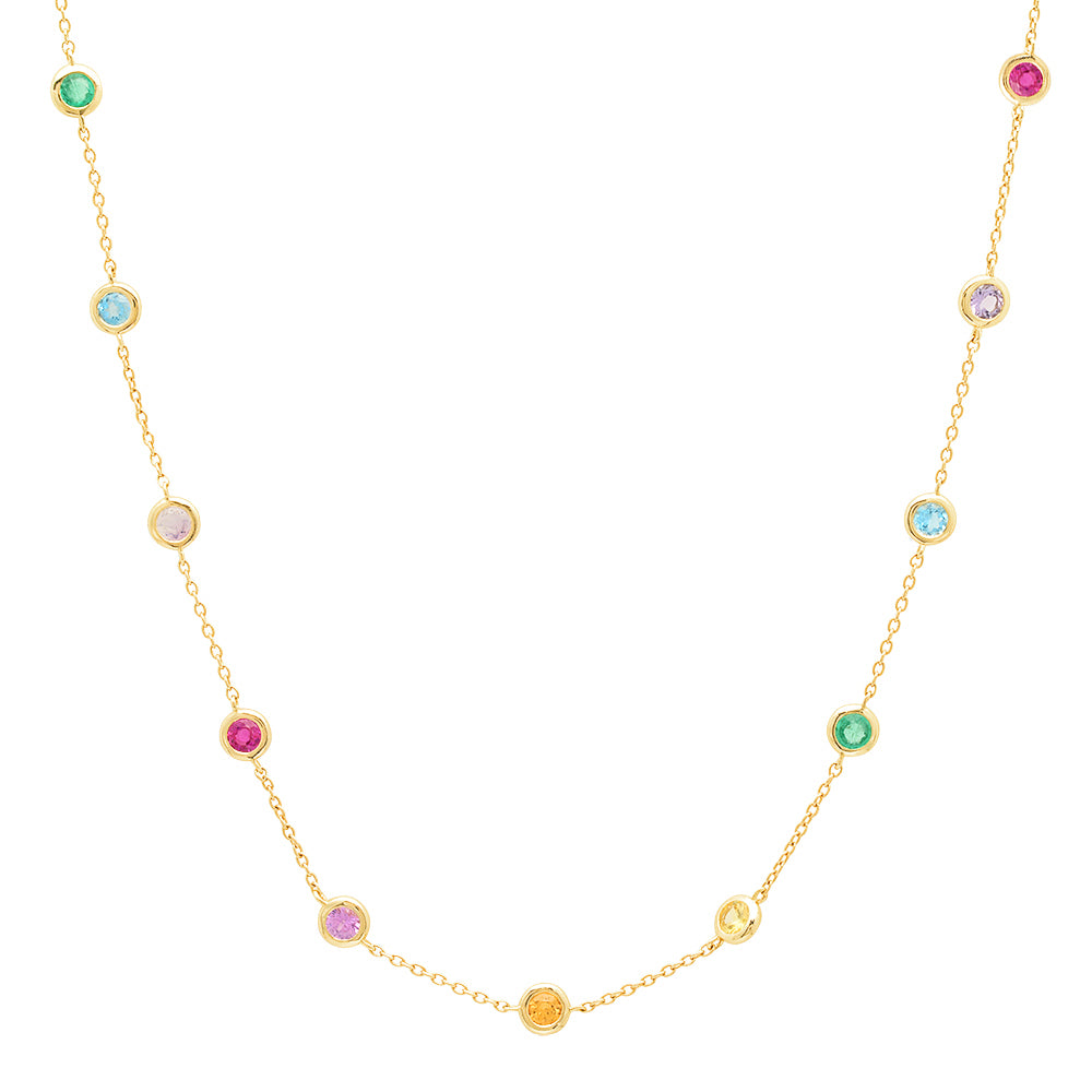 Rainbow Bezel Set Necklace