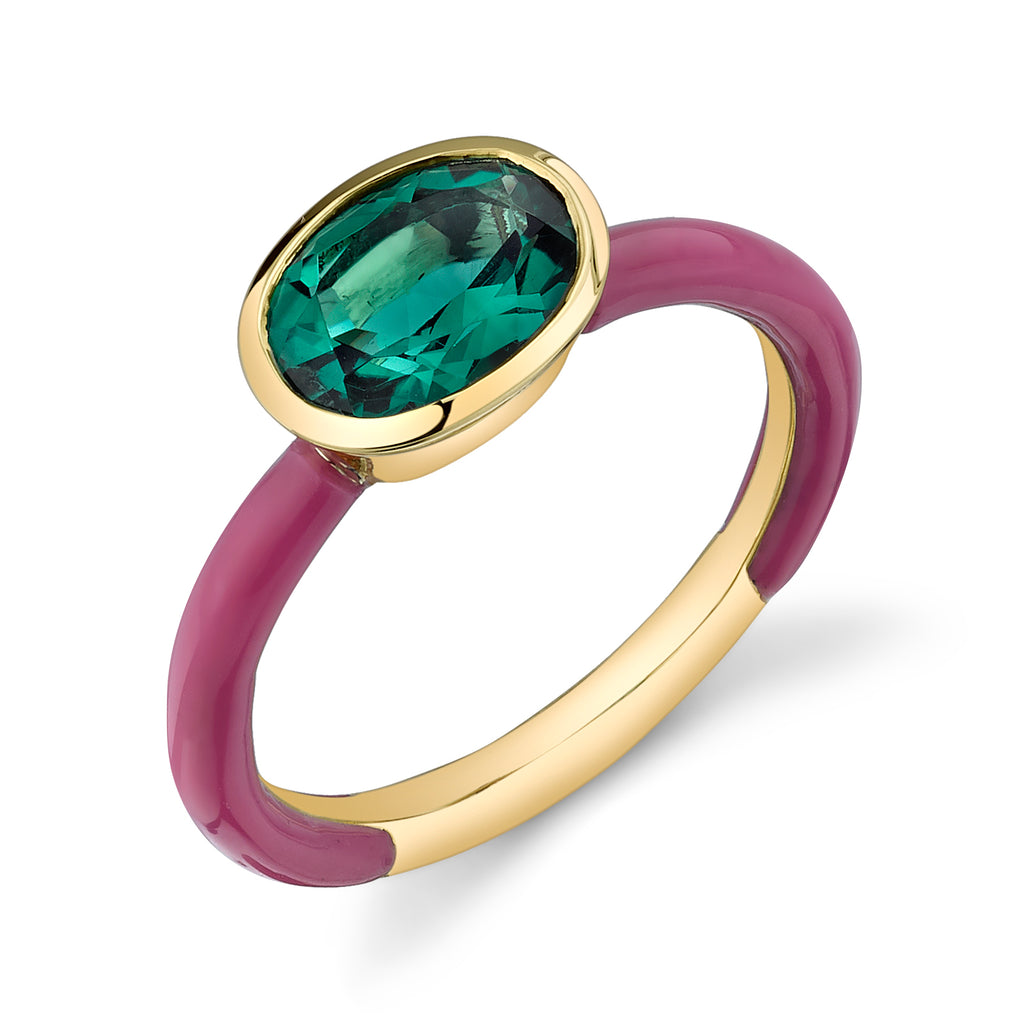 Solid Enamel Oval Gemstone Ring