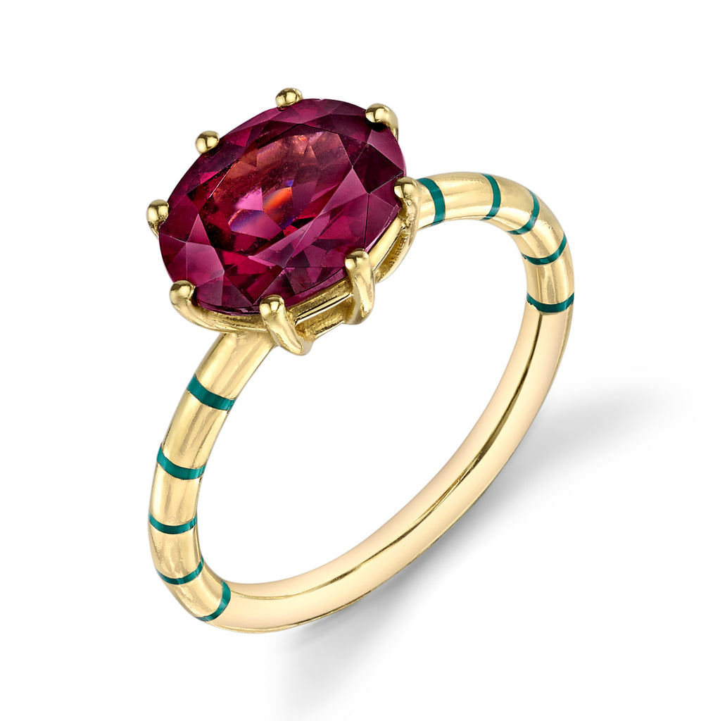 Garnet Prong Shirley Ring