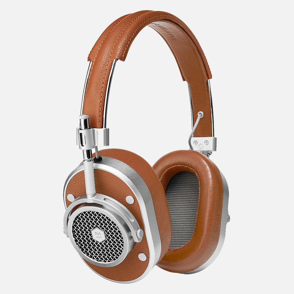 MH40 Over Ear Headphones - Brown leather/Silver Metal