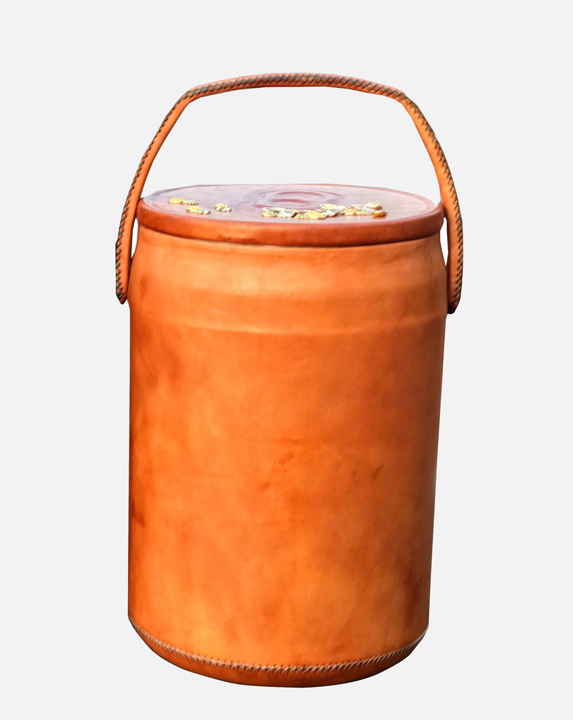 Leather Wrapped Cooler in Tan