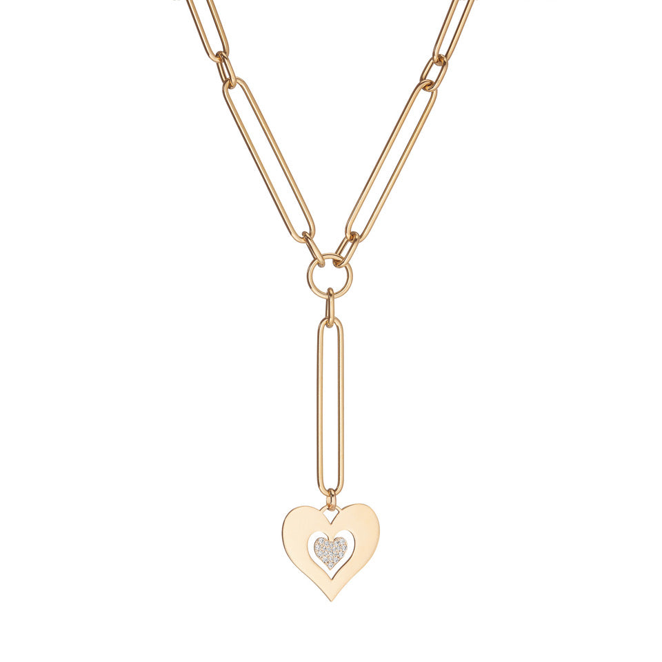 Heart Large Link Diamond Necklace