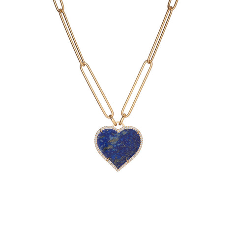 Heart Lapis Link Necklace
