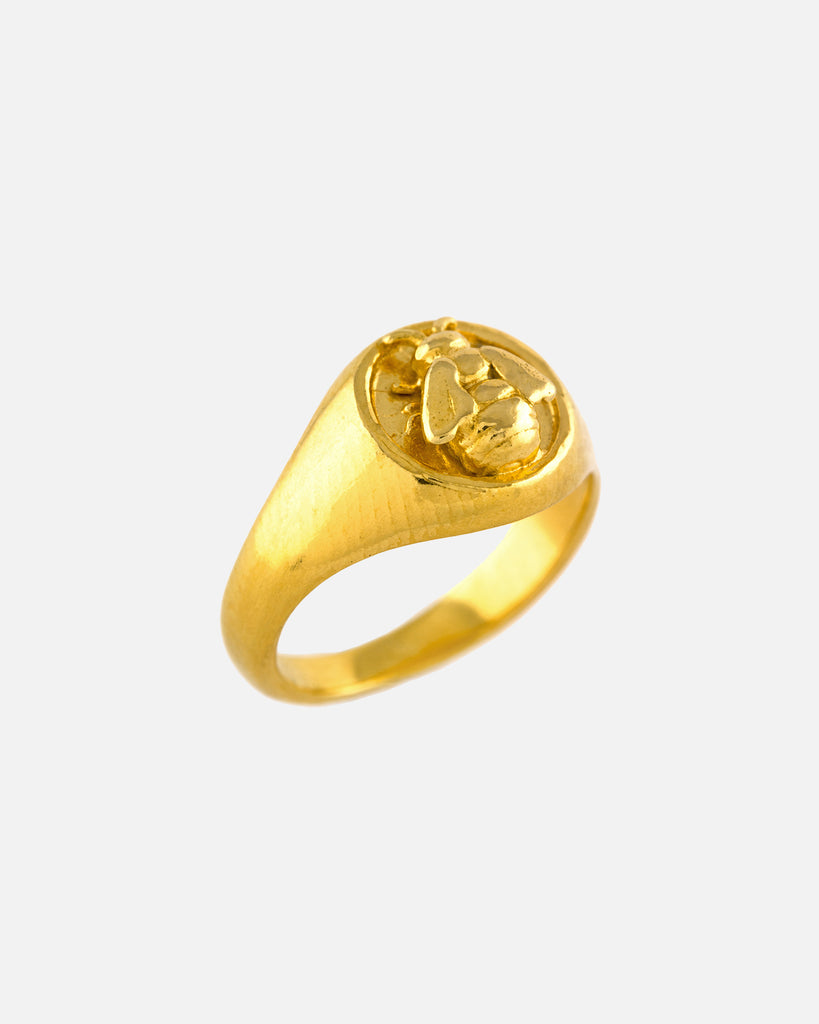 Bee Signet Ring - Gold Plate