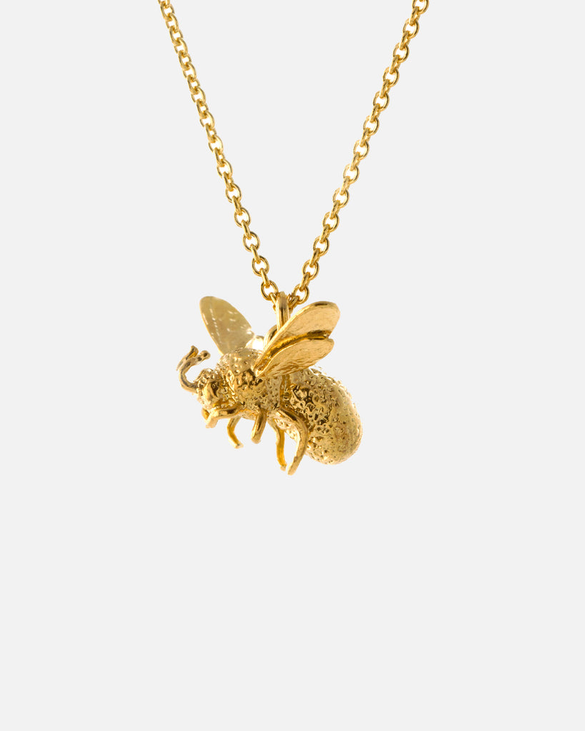 Flying Bee Necklace - Gold Plate