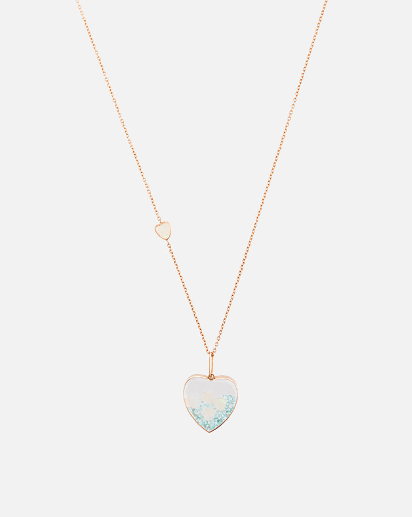 Heart Pendant with Paraiba Tournalines and Opals - Rose Gold