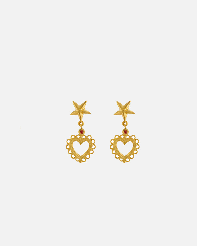 Star Stud Earrings with Lace-Edged Heart Drop with Orange Sapphire - Gold Plate