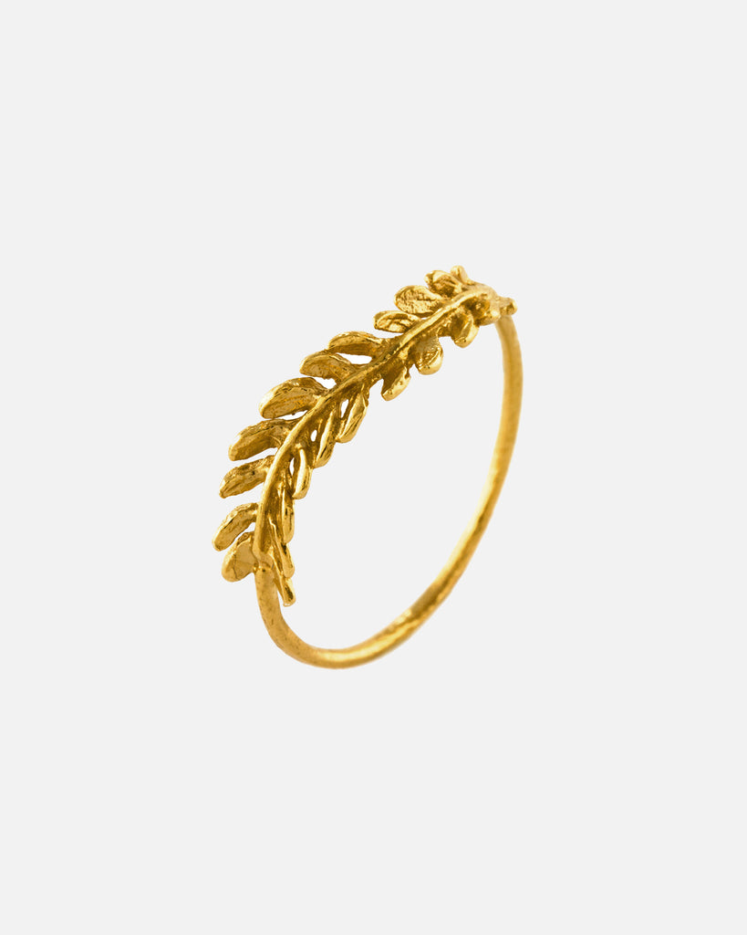 Honey Fern Leaf Ring - Gold Plate