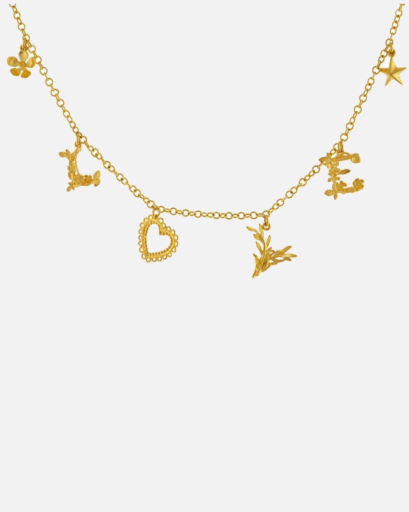 Love Mixed Charm Necklace - Gold Plate