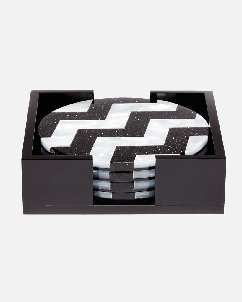 Round Coaster Chevron - Black/White