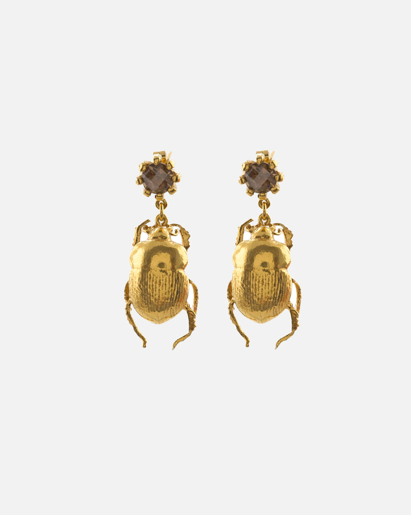 Dor Beetle & Smoky Quartz Drop Earrings - Gold Plate