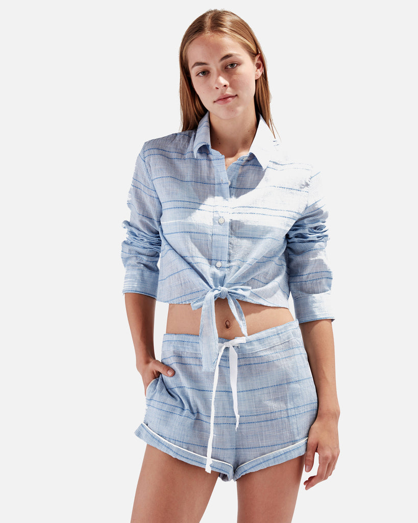The Tracy Piped Short - Blue Skinny Stripe