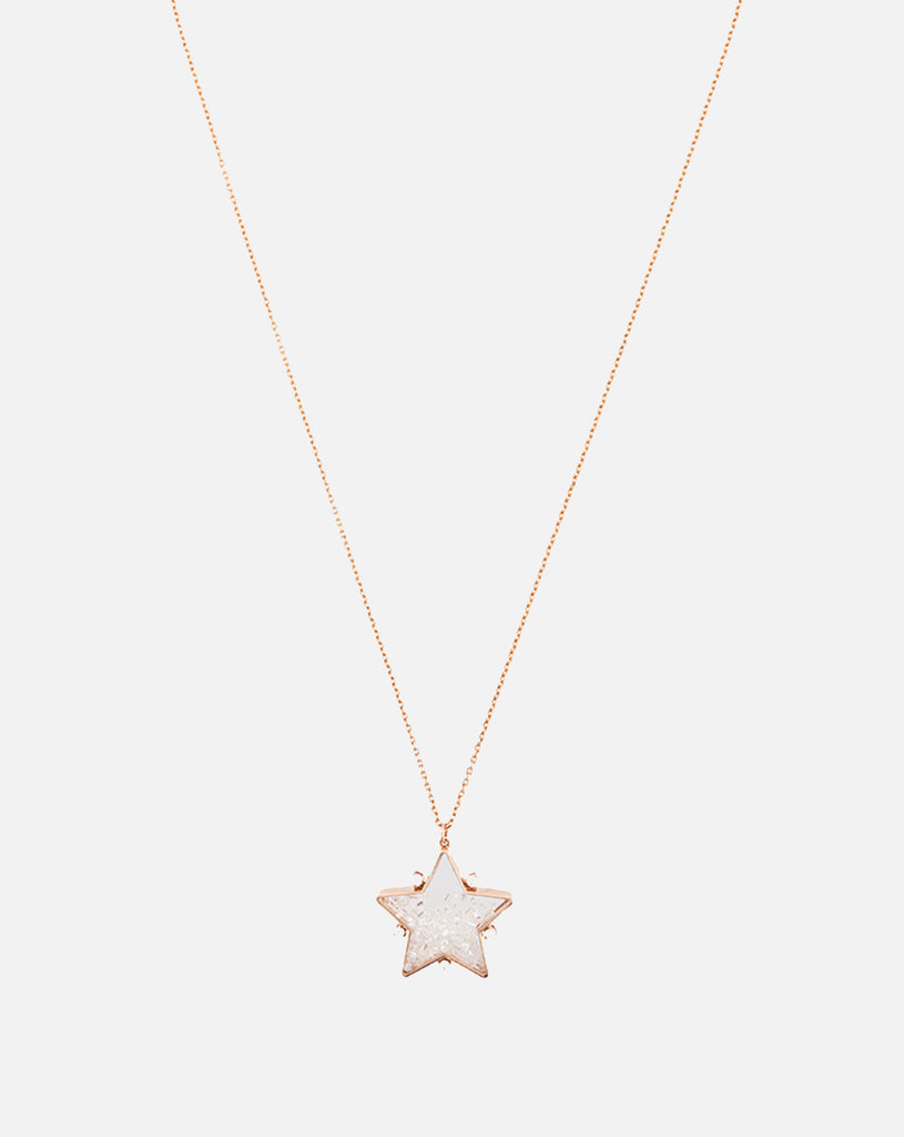 Star Pendant with Diamonds & White Sapphires - Rose Gold