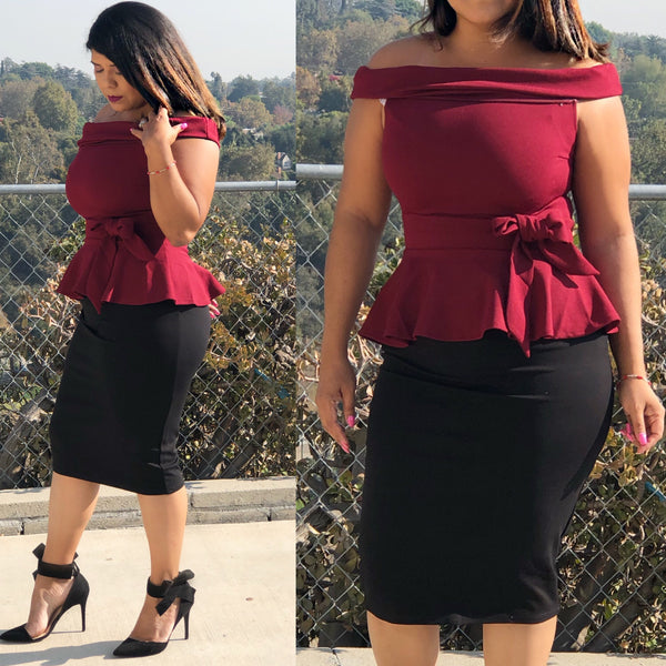 Bow peplum (burgundy)