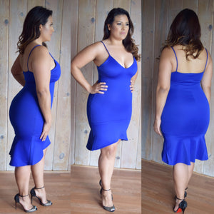 Bell midi Dress (royal blue )