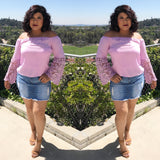 Off shoulder Lilac top