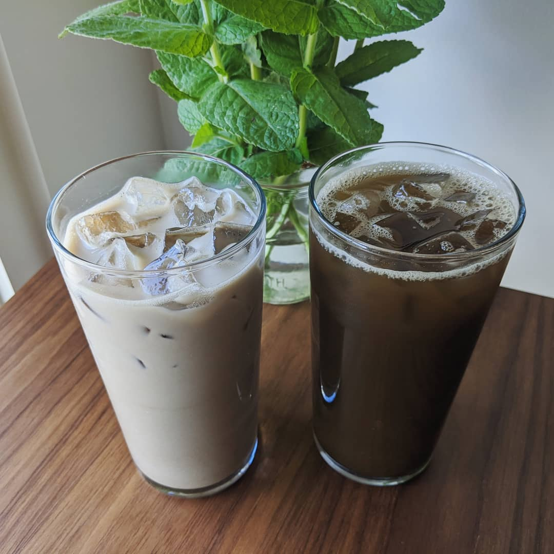 Hojicha in a tall glass cup