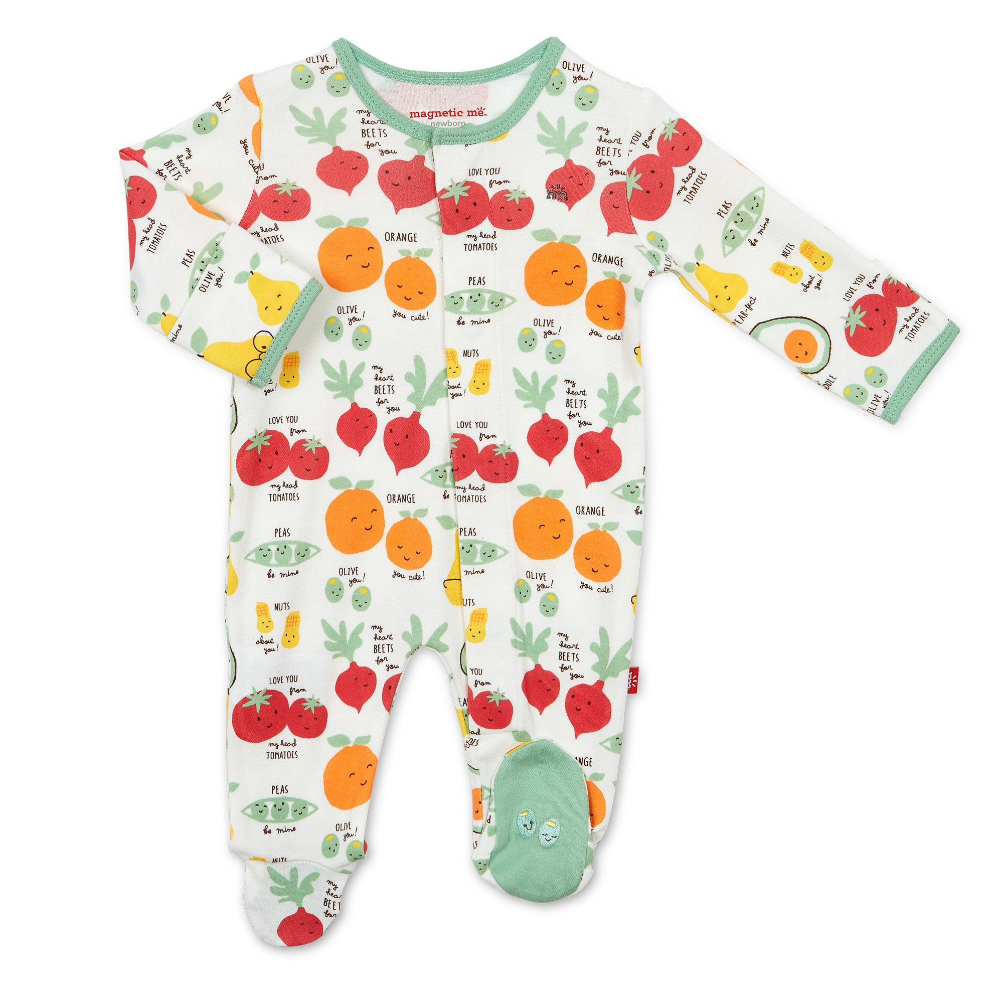 PERFECT PUNS ORGANIC COTTON MAGNETIC FOOTIE- 0-3M