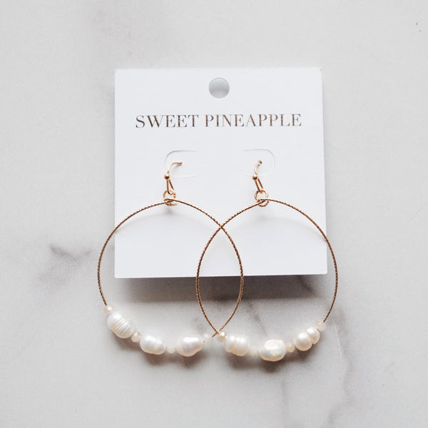 PEARL & CIRCLE DANGLE EARRING