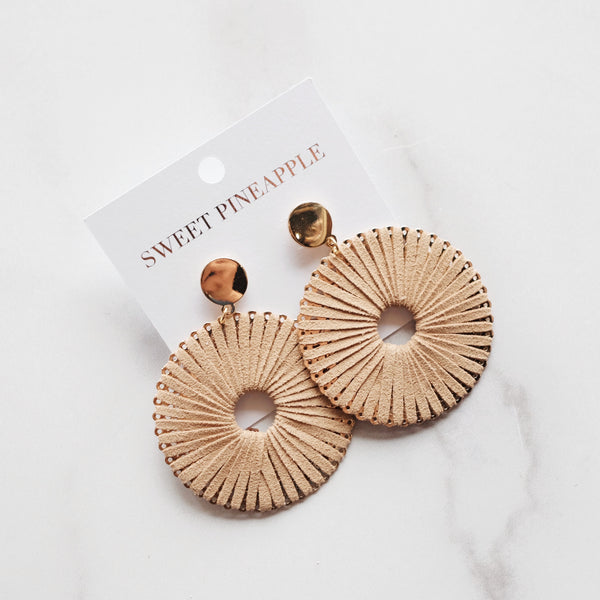 SUEDE WRAPPED CIRCLE EARRING - BEIGE