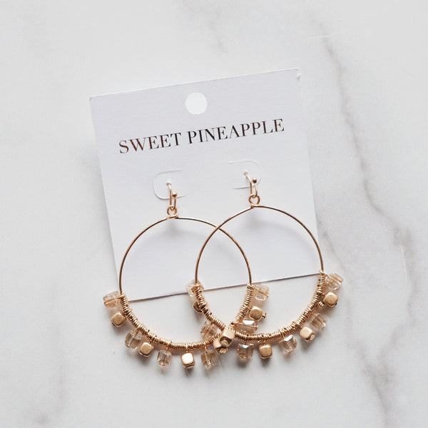 CUBE BEAD DANGLE CIRCLE EARRINGS - CHAMPAGNE