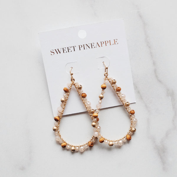 BEADED TEARDROP EARRINGS - BEIGE