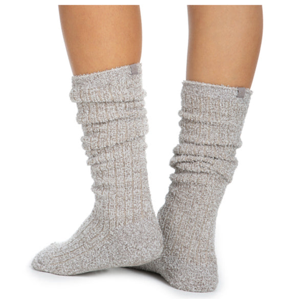 COZY CHIC RIBBED SOCKS-HEATHERED BEACH ROCK/ALMOND