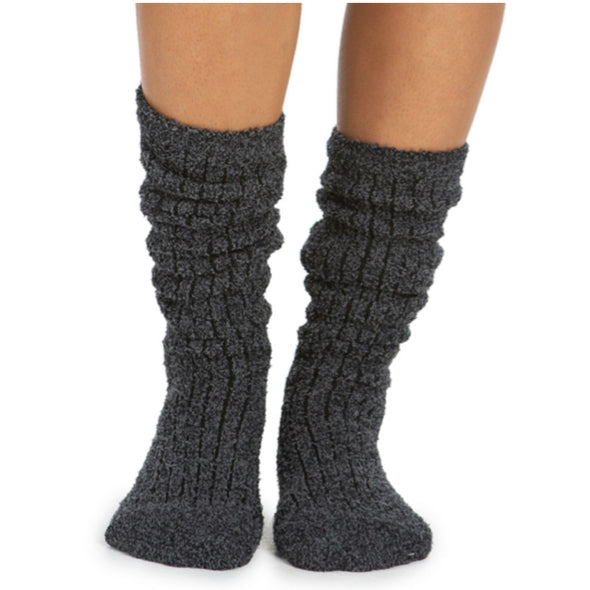 COZY CHIC RIBBED SOCKS-HEATHERED CARBON/BLACK